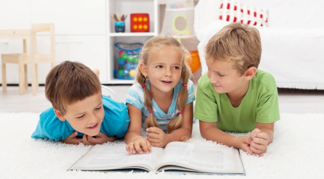 Kids practice reading and story telling