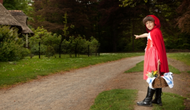 Little red riding hood pointing at her grandma's house in the forest